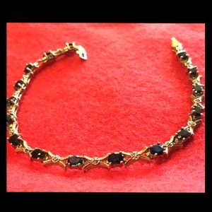 Jewelry - VTG 10k Yellow Gold Sapphire & Diamond Bracelet 🦋